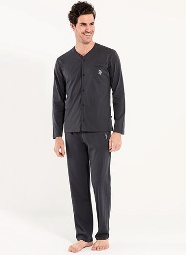 U.S. Polo Assn. Boydan Patlı Pijama Takım Antrasit